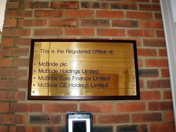 Bespoke Wayfinding - brass plaque