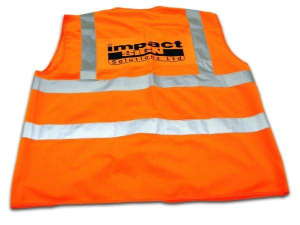 Hi-Viz and Workwear - orange vest with black print