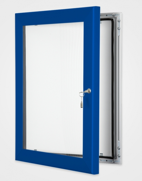 Lockable internal or external poster holder blue