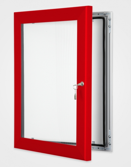 Lockable internal or external poster holder red