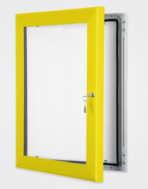 Lockable internal or external poster holder Yellow