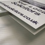 Signs on aluminium stakes