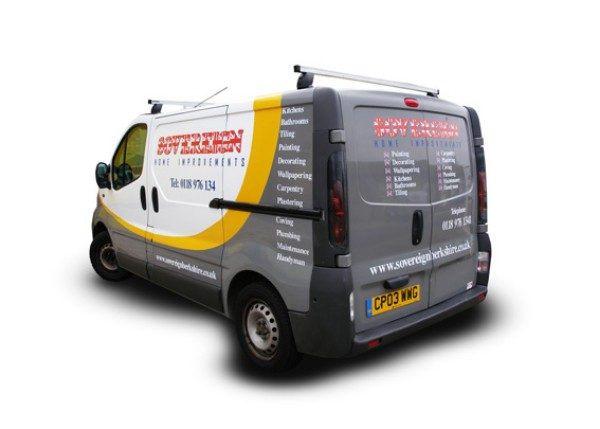 Vehicle Wrapping - van digitally printed logo Sovereign added shadow